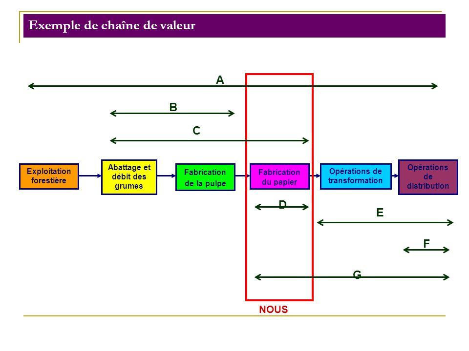 Exemple de chaîne de valeur Exploitation forestière Abattage et débit des grumes Fabrication de la pulpe Fabrication du papier Opérations de transform