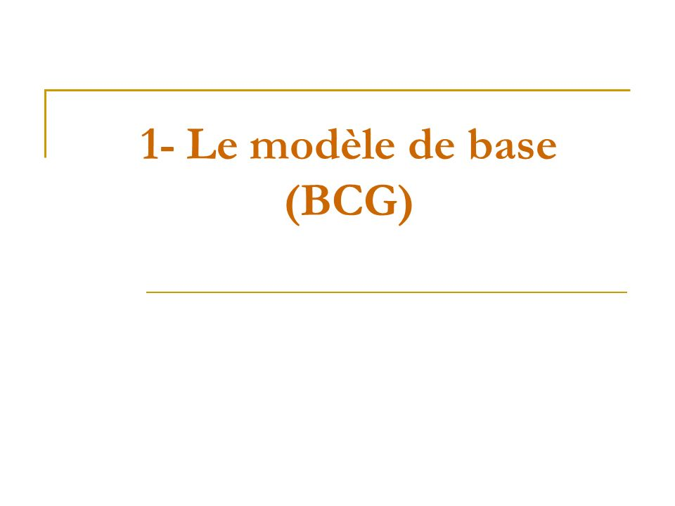 1- Le modèle de base (BCG)