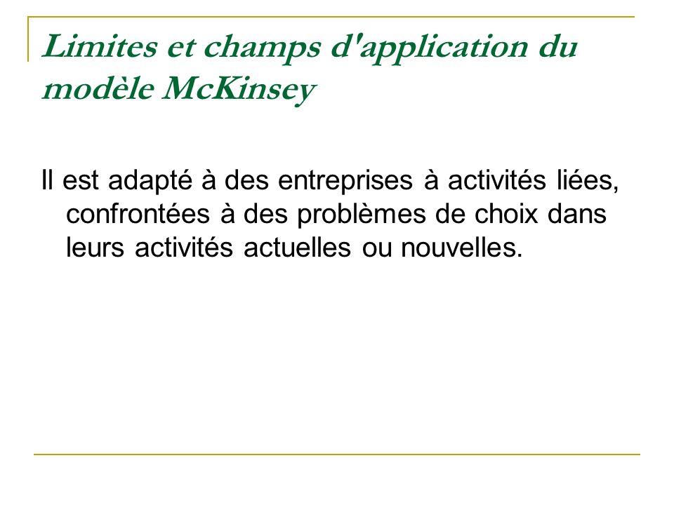 Limites et champs d'application du modèle McKinsey Il est adapté à des entreprises à activités liées, confrontées à des problèmes de choix dans leurs