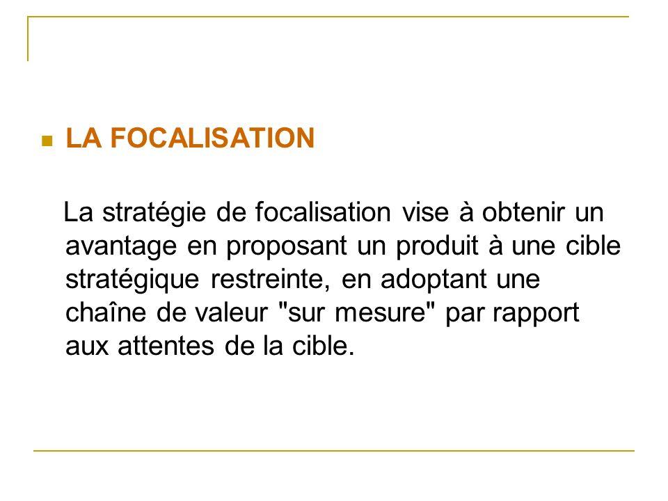 LA FOCALISATION La stratégie de focalisation vise à obtenir un avantage en proposant un produit à une cible stratégique restreinte, en adoptant une ch