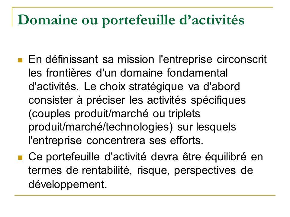Domaine ou portefeuille dactivités En définissant sa mission l'entreprise circonscrit les frontières d'un domaine fondamental d'activités. Le choix st