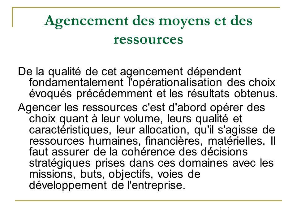 Agencement des moyens et des ressources De la qualité de cet agencement dépendent fondamentalement l'opérationalisation des choix évoqués précédemment