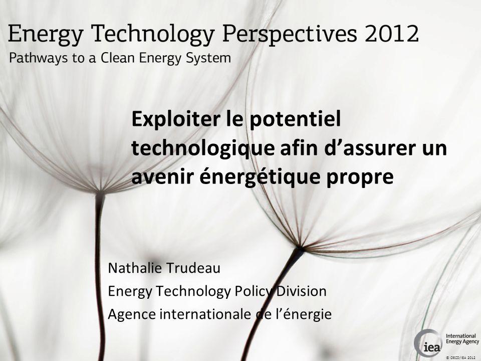 © OECD/IEA 2012 Exploiter le potentiel technologique afin dassurer un avenir énergétique propre Nathalie Trudeau Energy Technology Policy Division Agence internationale de lénergie