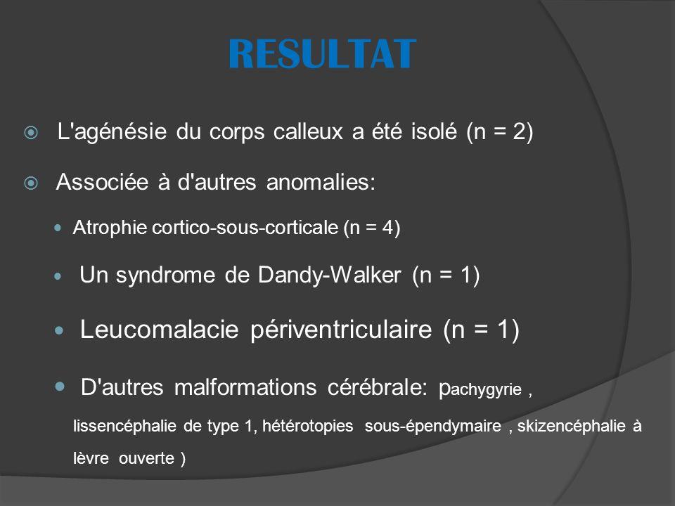 RESULTAT L agénésie du corps calleux a été isolé (n = 2) Associée à d autres anomalies: Atrophie cortico-sous-corticale (n = 4) Un syndrome de Dandy-Walker (n = 1) Leucomalacie périventriculaire (n = 1) D autres malformations cérébrale: p achygyrie, lissencéphalie de type 1, hétérotopies sous-épendymaire, skizencéphalie à lèvre ouverte )