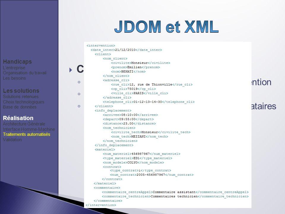 Création de flux XML Création du flux XML dune fiche dintervention Insertion en base de données Génération de Fichier XML pour les prestataires Handic