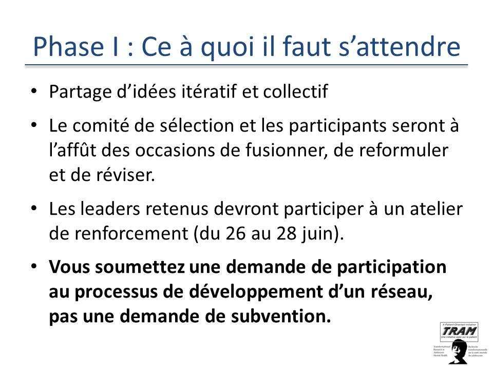 Phase I : Ce à quoi il faut sattendre Partage didées itératif et collectif Le comité de sélection et les participants seront à laffût des occasions de fusionner, de reformuler et de réviser.