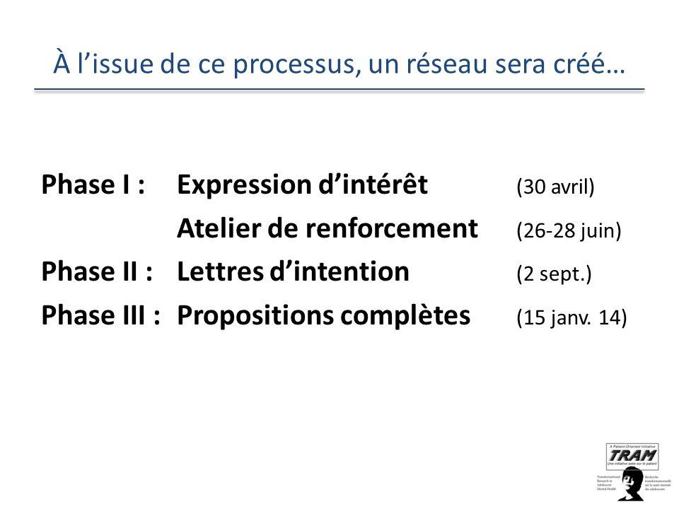 À lissue de ce processus, un réseau sera créé… Phase I : Expression dintérêt (30 avril) Atelier de renforcement (26-28 juin) Phase II :Lettres dintention (2 sept.) Phase III :Propositions complètes (15 janv.