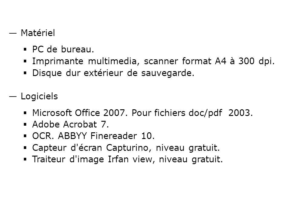Matériel PC de bureau. Imprimante multimedia, scanner format A4 à 300 dpi.