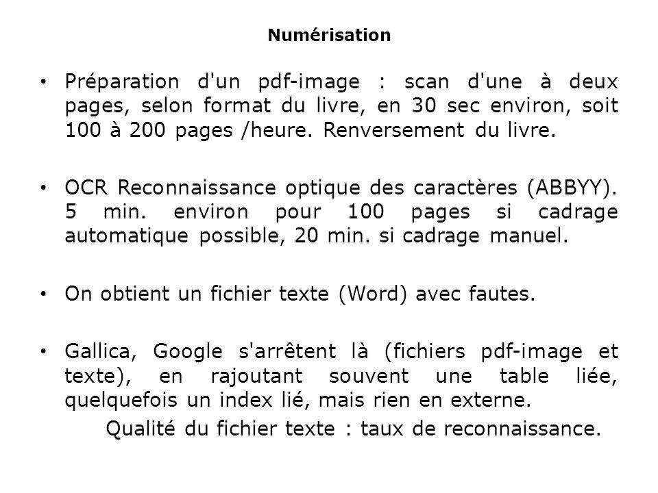 Numérisation Préparation d un pdf-image : scan d une à deux pages, selon format du livre, en 30 sec environ, soit 100 à 200 pages /heure.