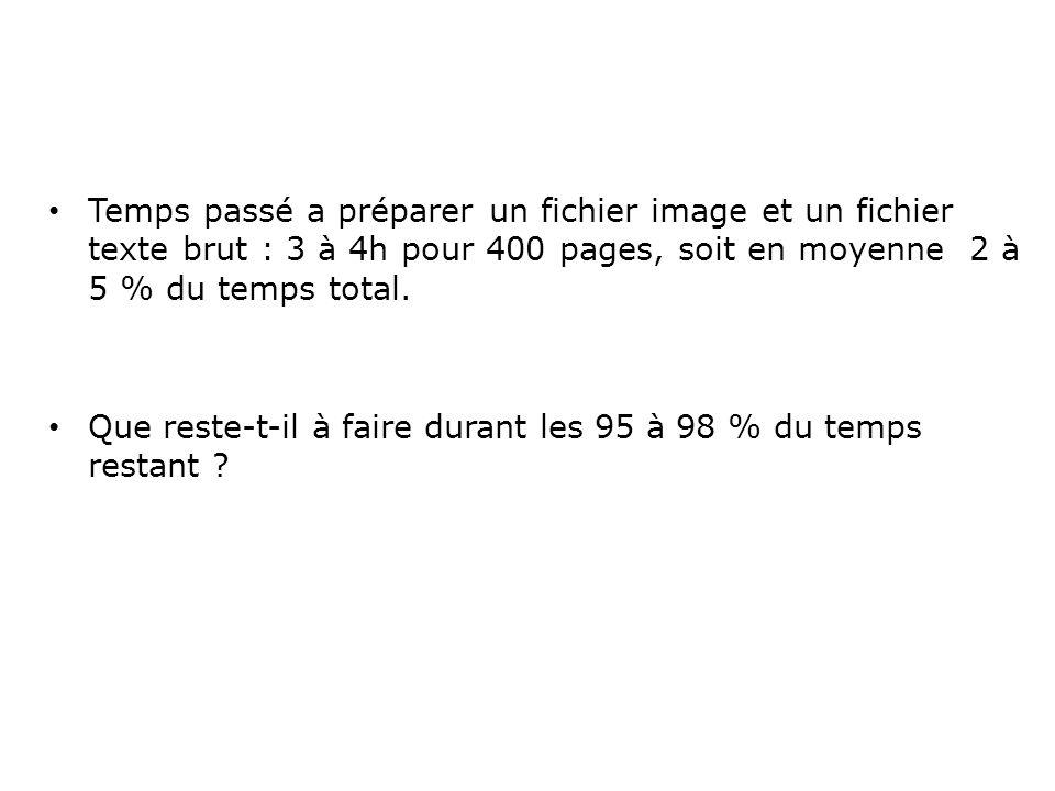 Temps passé a préparer un fichier image et un fichier texte brut : 3 à 4h pour 400 pages, soit en moyenne 2 à 5 % du temps total.