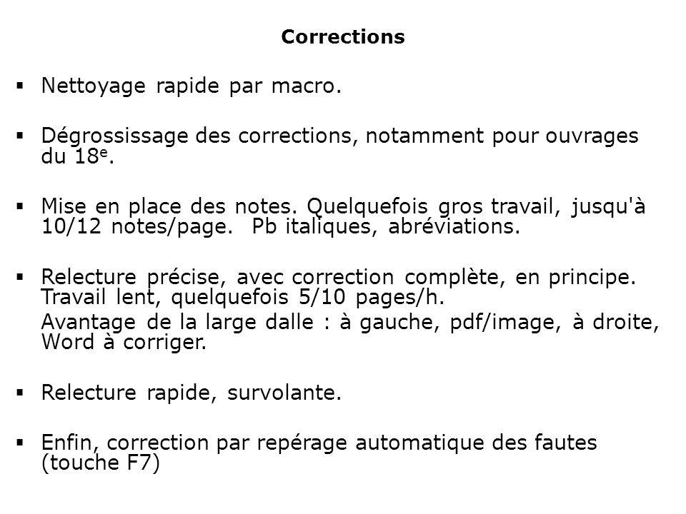 Corrections Nettoyage rapide par macro.