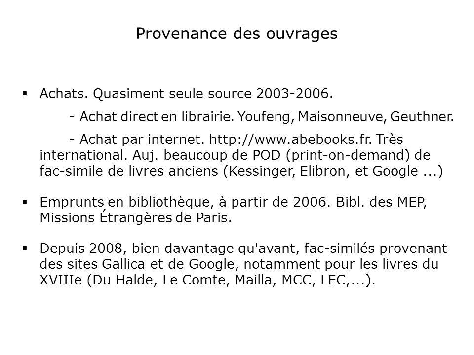 Provenance des ouvrages Achats. Quasiment seule source 2003-2006.