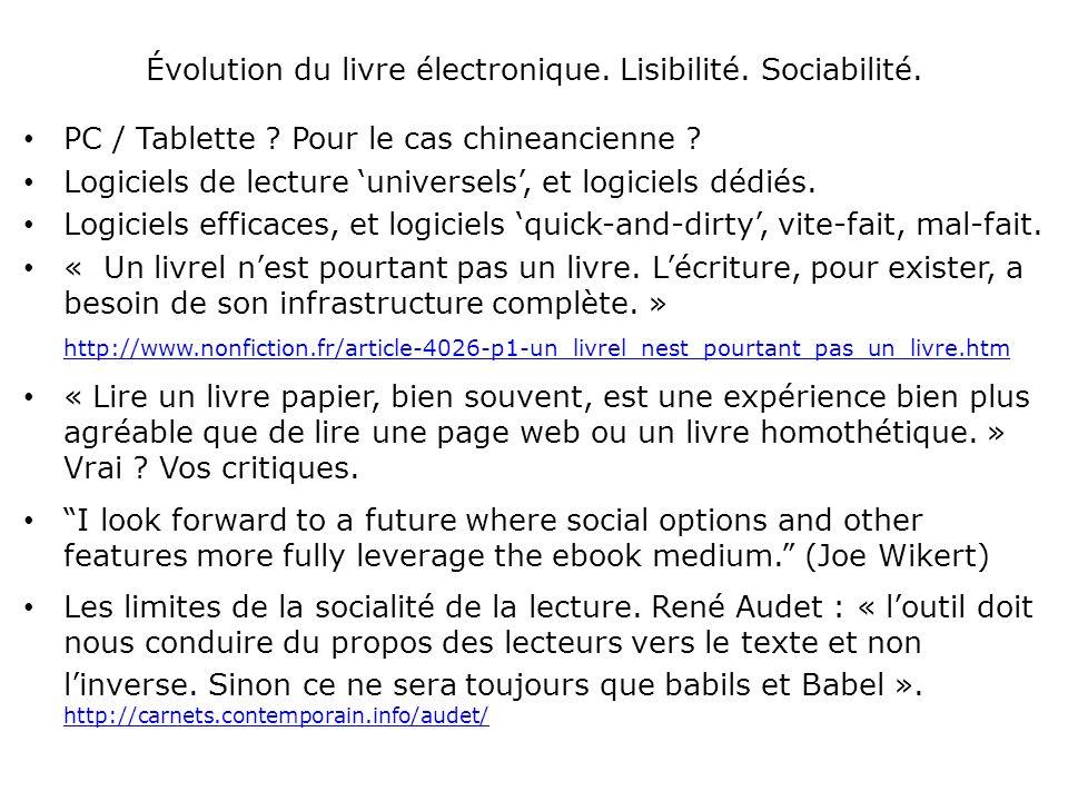 Évolution du livre électronique. Lisibilité. Sociabilité.