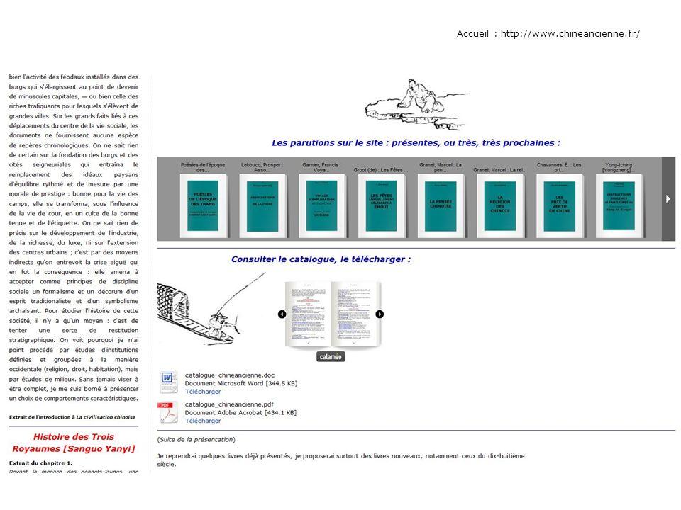 Calameo : http://fr.calameo.com/accounts/215498 ou : http://fr.calameo.com, puis rechercher chineanciennehttp://fr.calameo.com/accounts/215498