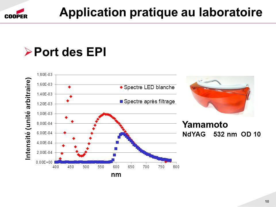 Application pratique au laboratoire Port des EPI 10 Yamamoto NdYAG 532 nm OD 10