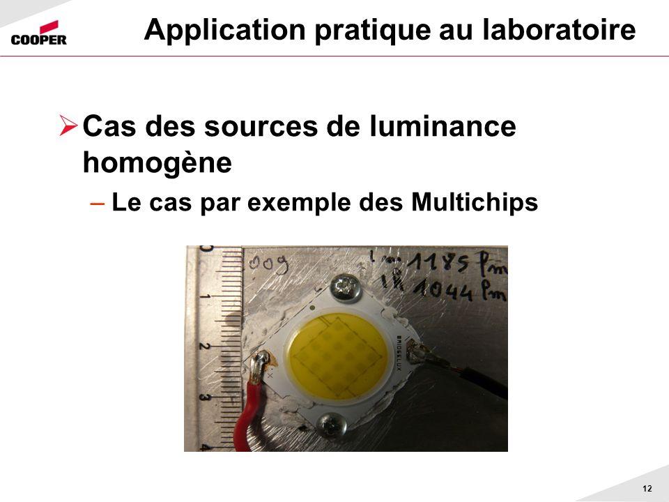 Application pratique au laboratoire Cas des sources de luminance homogène –Le cas par exemple des Multichips 12