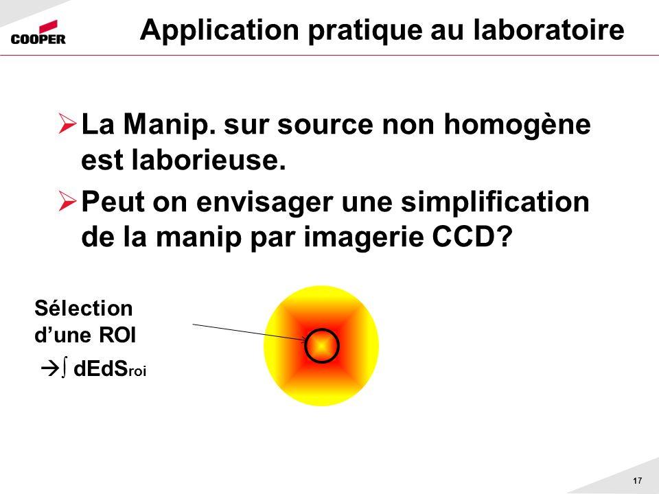 Application pratique au laboratoire La Manip. sur source non homogène est laborieuse. Peut on envisager une simplification de la manip par imagerie CC
