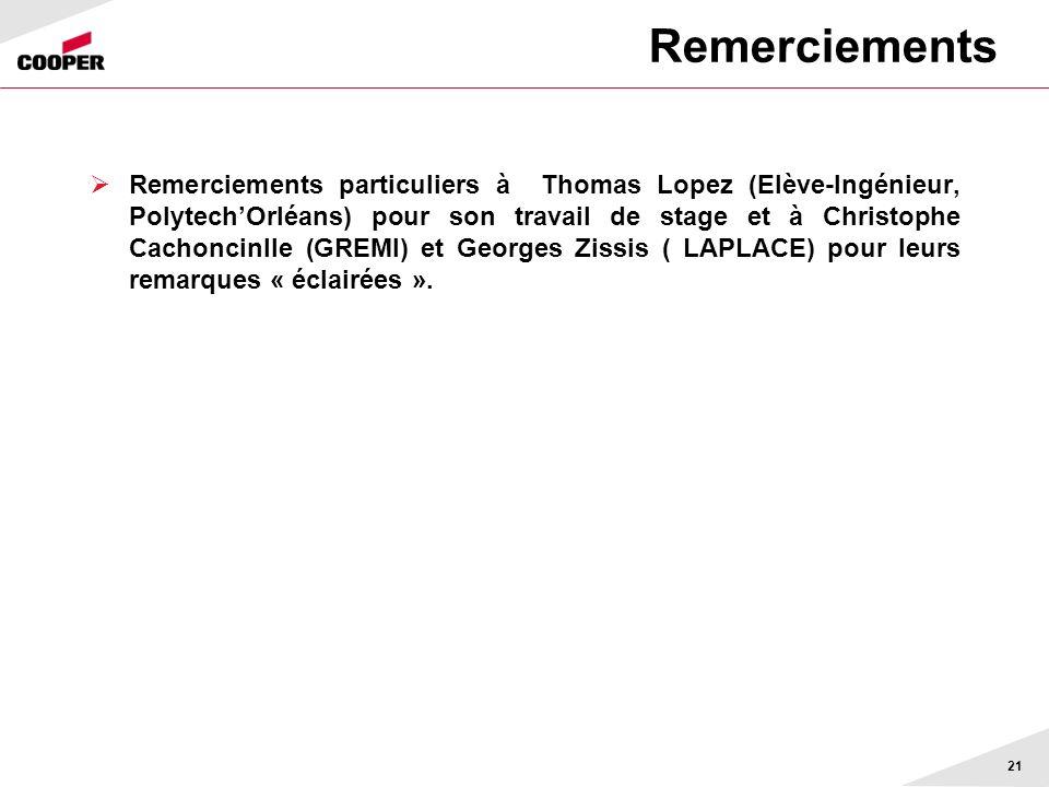 Remerciements Remerciements particuliers à Thomas Lopez (Elève-Ingénieur, PolytechOrléans) pour son travail de stage et à Christophe Cachoncinlle (GREMI) et Georges Zissis ( LAPLACE) pour leurs remarques « éclairées ».