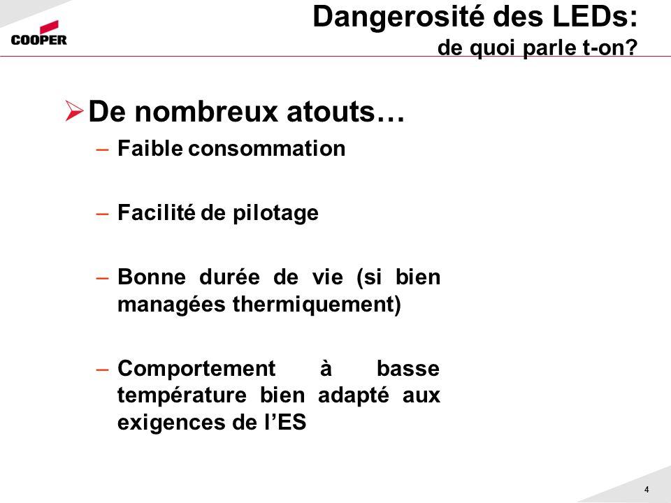 Dangerosité des LEDs: de quoi parle t-on? 4 De nombreux atouts… –Faible consommation –Facilité de pilotage –Bonne durée de vie (si bien managées therm