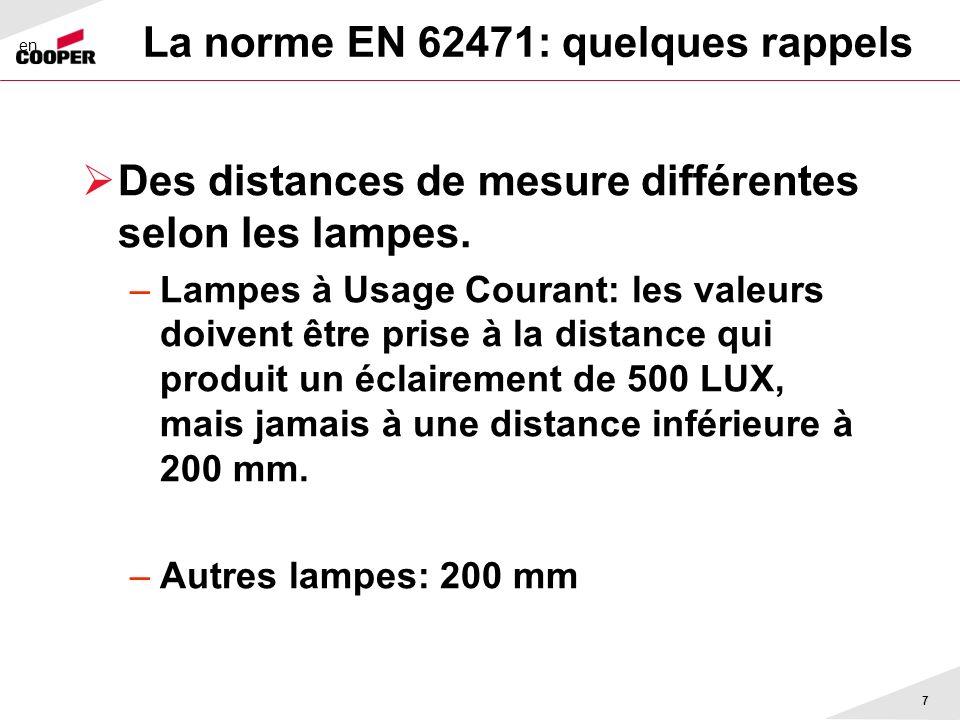 La norme EN 62471: quelques rappels Des distances de mesure différentes selon les lampes. –Lampes à Usage Courant: les valeurs doivent être prise à la