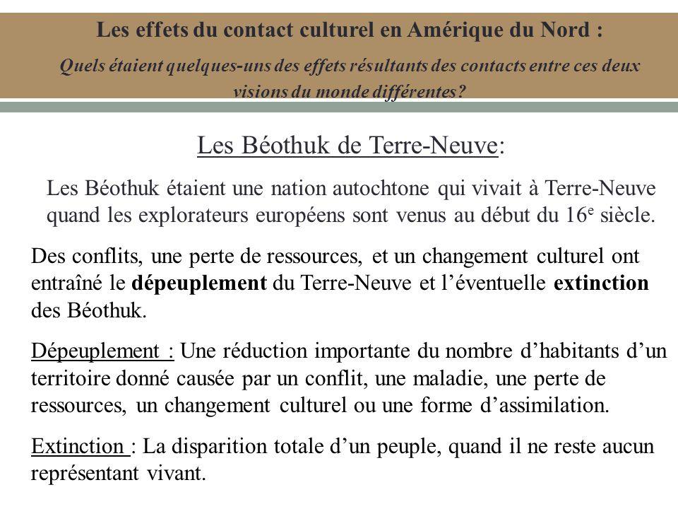 Les Béothuk de Terre-Neuve: Les Béothuk étaient une nation autochtone qui vivait à Terre-Neuve quand les explorateurs européens sont venus au début du 16 e siècle.