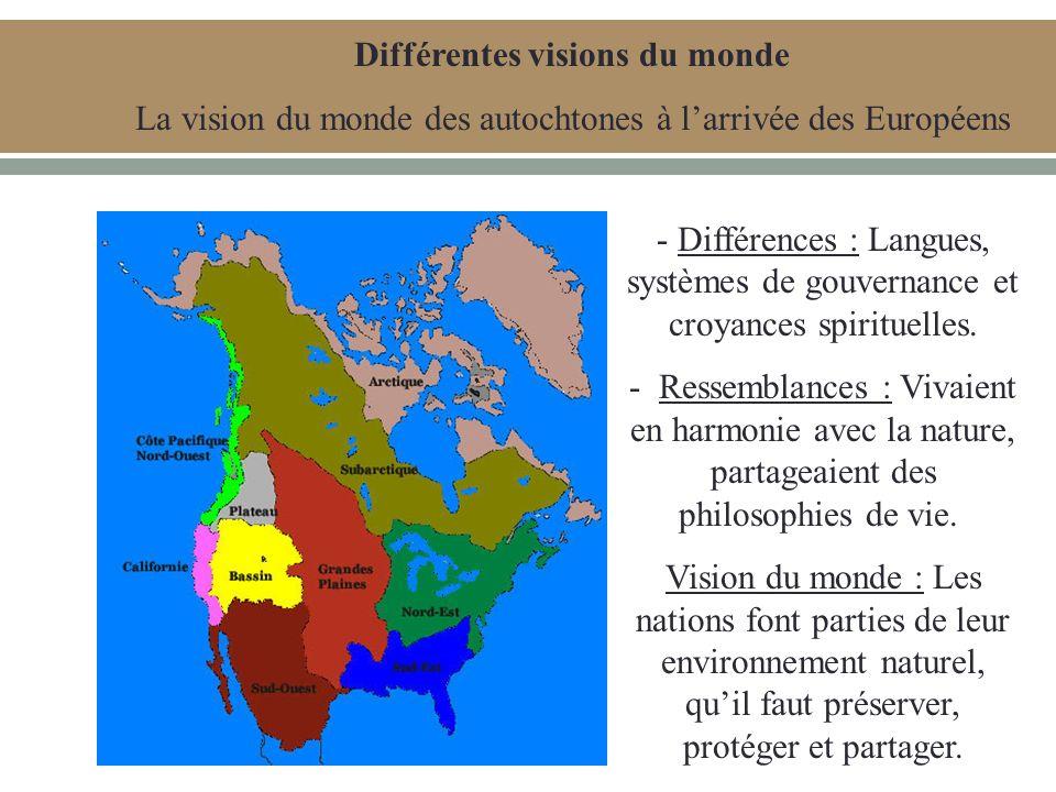 Différentes visions du monde La vision du monde des autochtones à larrivée des Européens - Différences : Langues, systèmes de gouvernance et croyances spirituelles.