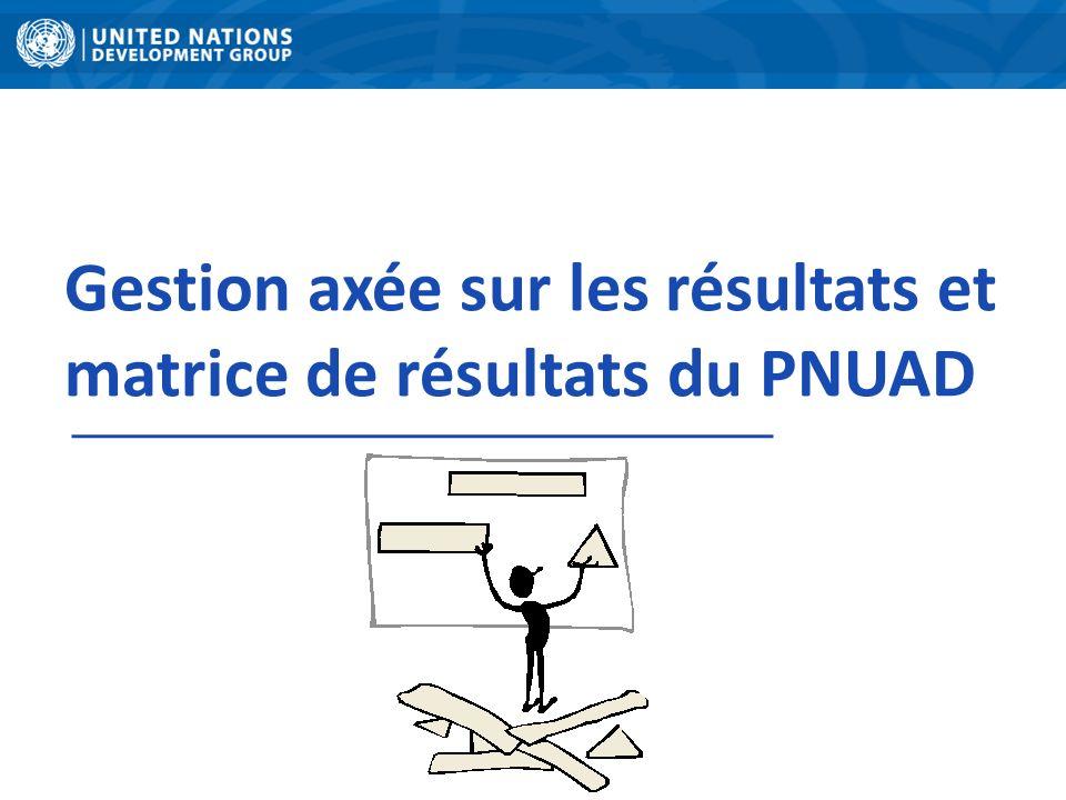 Gestion axée sur les résultats et matrice de résultats du PNUAD