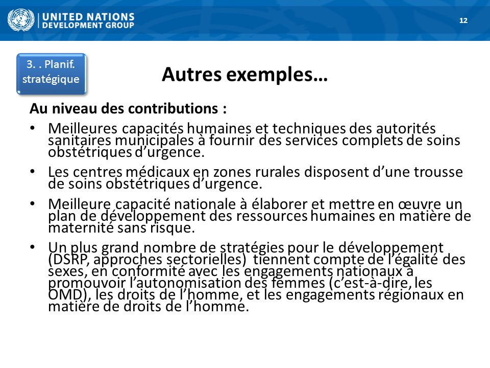Autres exemples… 1.Road Map 12 3.. Planif.