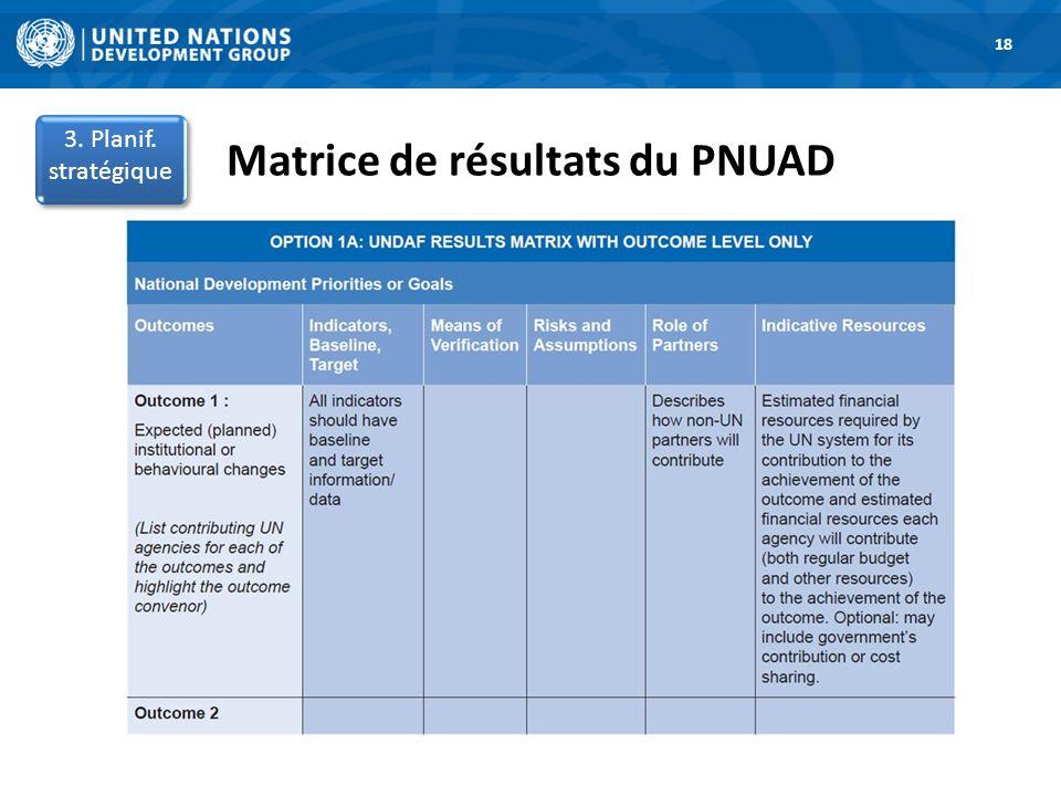 Matrice de résultats du PNUAD 1. Road Map 18 3. Planif. stratégique