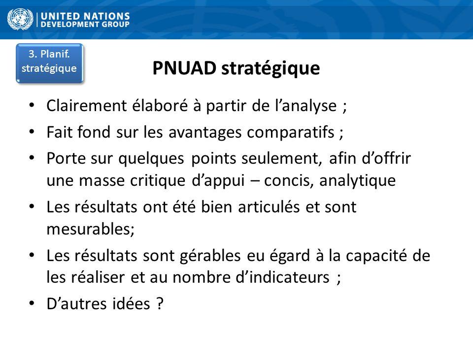 PNUAD stratégique Clairement élaboré à partir de lanalyse ; Fait fond sur les avantages comparatifs ; Porte sur quelques points seulement, afin doffri