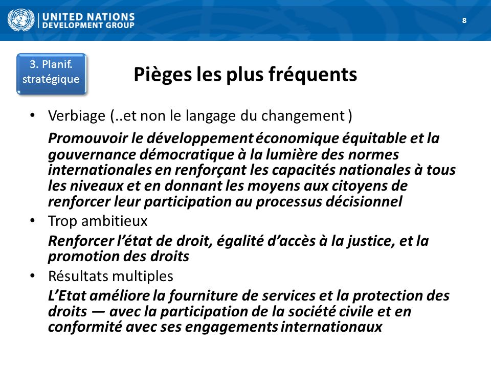 Pièges les plus fréquents 1. Road Map 8 3. Planif. stratégique Verbiage (..et non le langage du changement ) Promouvoir le développement économique éq