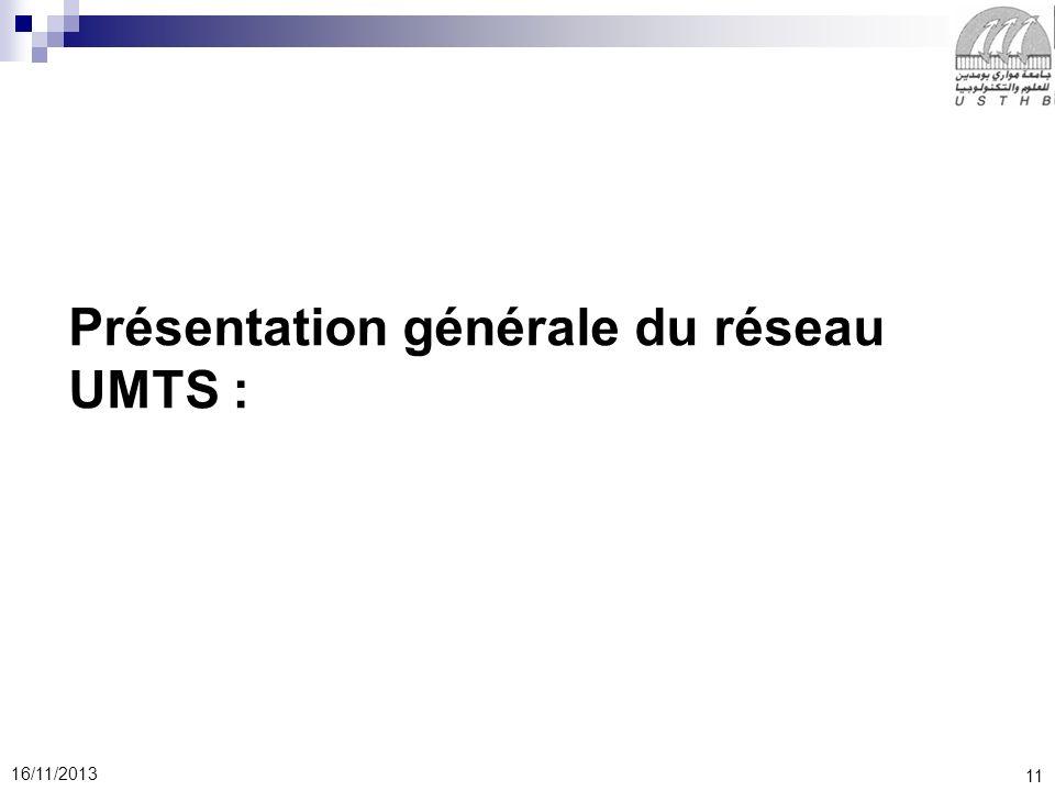 11 16/11/2013 Présentation générale du réseau UMTS :