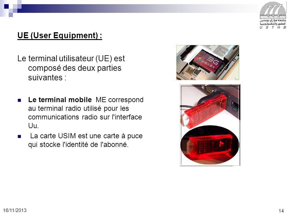14 16/11/2013 UE (User Equipment) : Le terminal utilisateur (UE) est composé des deux parties suivantes : Le terminal mobile ME correspond au terminal radio utilisé pour les communications radio sur l interface Uu.