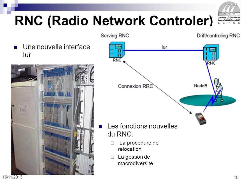19 16/11/2013 RNC (Radio Network Controler) Une nouvelle interface Iur Les fonctions nouvelles du RNC: La procédure de relocation La gestion de macrodiversité