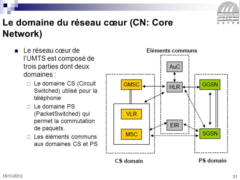 21 16/11/2013 Le domaine du réseau cœur (CN: Core Network) Le réseau cœur de lUMTS est composé de trois parties dont deux domaines : Le domaine CS (Circuit Switched) utilisé pour la téléphonie Le domaine PS (PacketSwitched) qui permet la commutation de paquets.