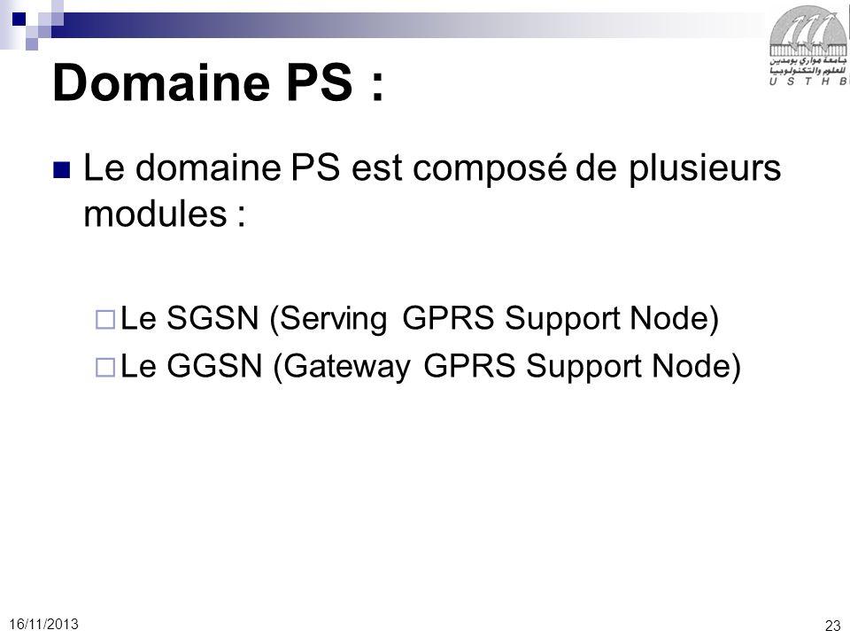23 16/11/2013 Domaine PS : Le domaine PS est composé de plusieurs modules : Le SGSN (Serving GPRS Support Node) Le GGSN (Gateway GPRS Support Node)