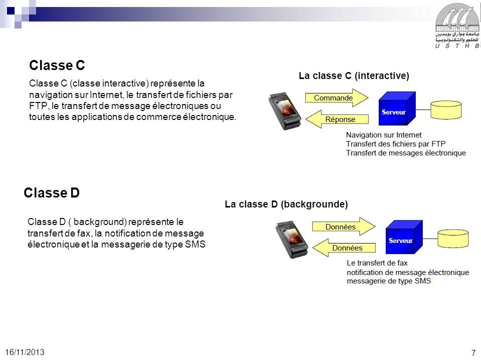 7 16/11/2013 Classe C Classe C (classe interactive) représente la navigation sur Internet, le transfert de fichiers par FTP, le transfert de message électroniques ou toutes les applications de commerce électronique.