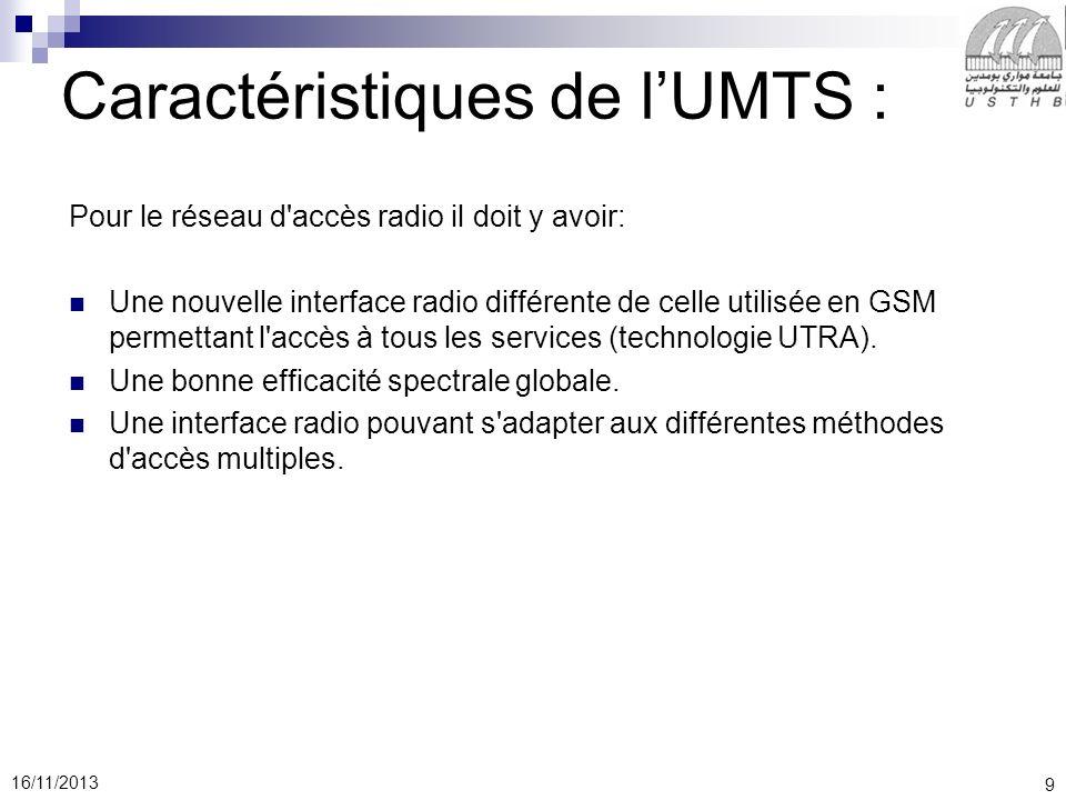 9 16/11/2013 Caractéristiques de lUMTS : Pour le réseau d accès radio il doit y avoir: Une nouvelle interface radio différente de celle utilisée en GSM permettant l accès à tous les services (technologie UTRA).