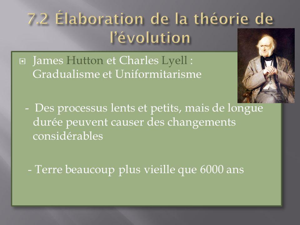 James Hutton et Charles Lyell : Gradualisme et Uniformitarisme - Des processus lents et petits, mais de longue durée peuvent causer des changements co
