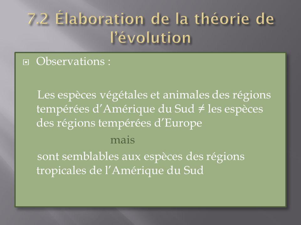 Observations : Les espèces végétales et animales des régions tempérées dAmérique du Sud les espèces des régions tempérées dEurope mais sont semblables