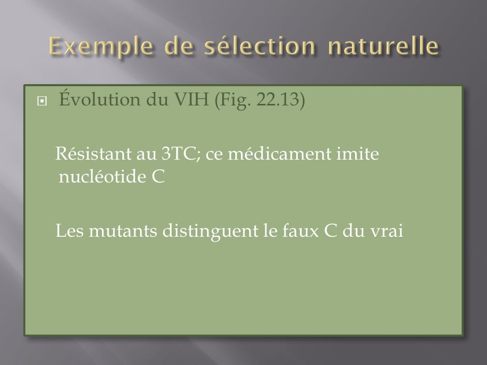 Évolution du VIH (Fig. 22.13) Résistant au 3TC; ce médicament imite nucléotide C Les mutants distinguent le faux C du vrai Évolution du VIH (Fig. 22.1
