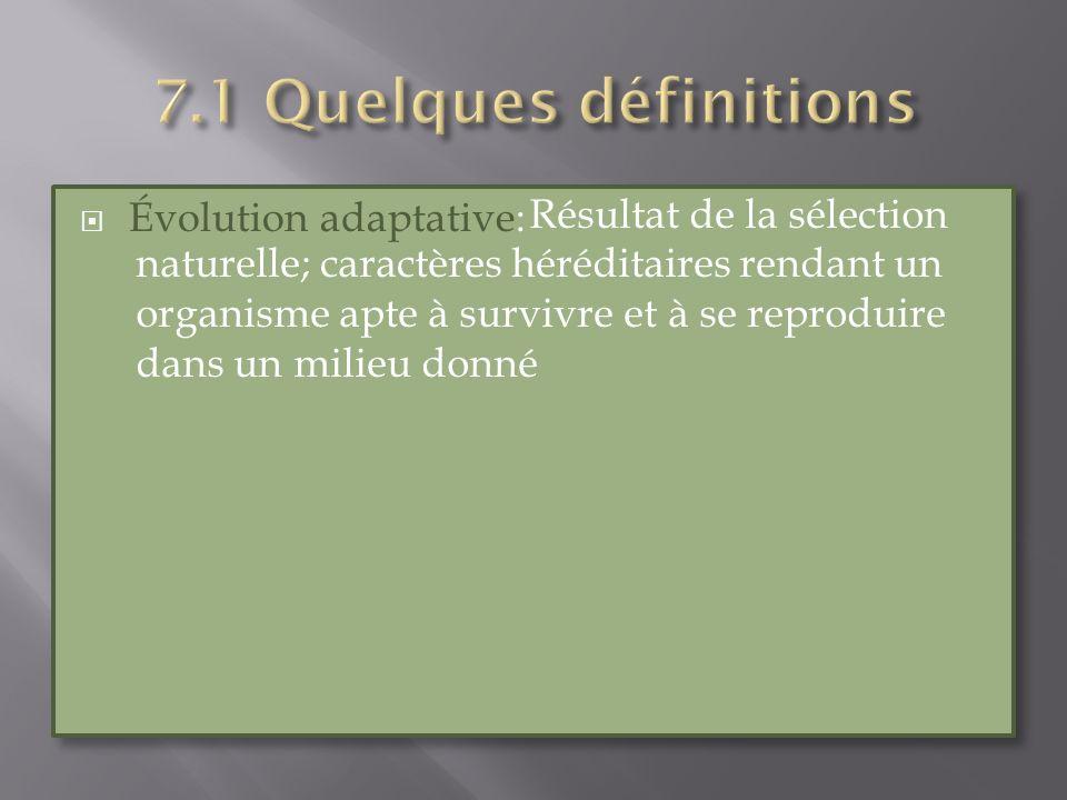 Évolution adaptative: Résultat de la sélection naturelle; caractères héréditaires rendant un organisme apte à survivre et à se reproduire dans un mili