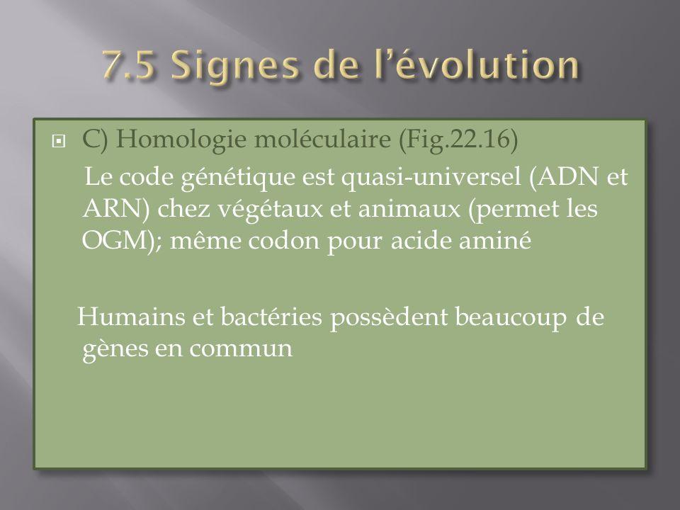 C) Homologie moléculaire (Fig.22.16) Le code génétique est quasi-universel (ADN et ARN) chez végétaux et animaux (permet les OGM); même codon pour aci