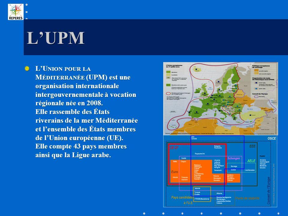 LUPM LU NION POUR LA M ÉDITERRANÉE (UPM) est une organisation internationale intergouvernementale à vocation régionale née en 2008. Elle rassemble des