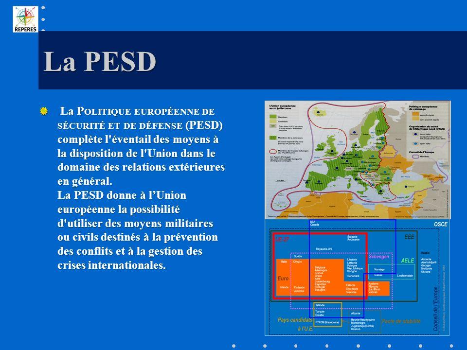 La PESD La P OLITIQUE EUROPÉENNE DE SÉCURITÉ ET DE DÉFENSE (PESD) complète l'éventail des moyens à la disposition de l'Union dans le domaine des relat