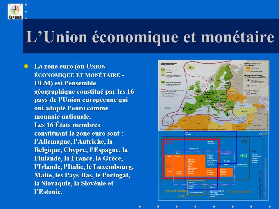 LUnion économique et monétaire La zone euro (ou U NION ÉCONOMIQUE ET MONÉTAIRE - UEM) est l'ensemble géographique constitué par les 16 pays de l'Union