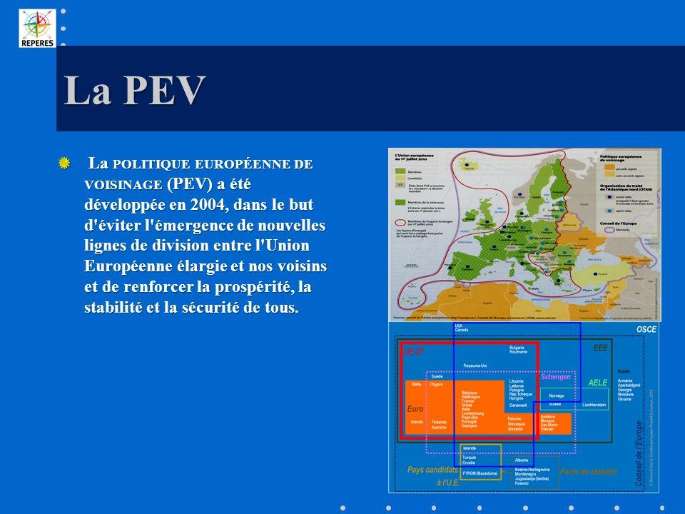 La PEV La POLITIQUE EUROPÉENNE DE VOISINAGE (PEV) a été développée en 2004, dans le but d'éviter l'émergence de nouvelles lignes de division entre l'U