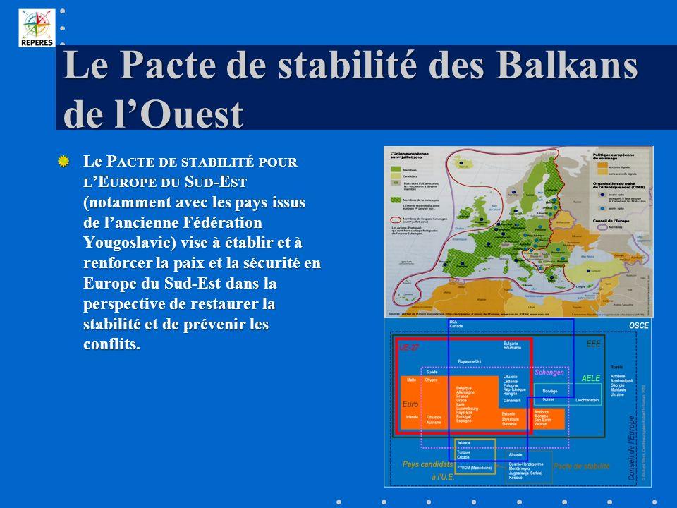 Le Pacte de stabilité des Balkans de lOuest Le P ACTE DE STABILITÉ POUR L E UROPE DU S UD -E ST (notamment avec les pays issus de lancienne Fédération