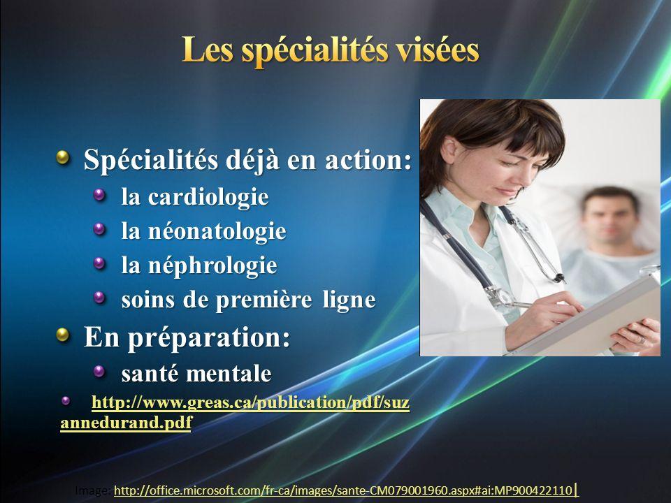 Spécialités déjà en action: la cardiologie la néonatologie la néphrologie soins de première ligne En préparation: santé mentale http://www.greas.ca/pu