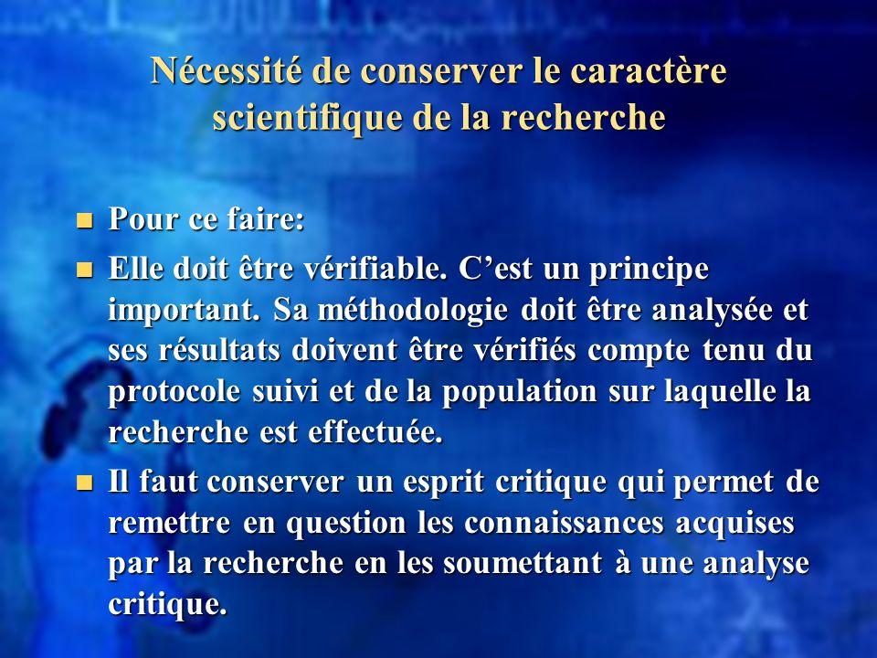 Nécessité de conserver le caractère scientifique de la recherche Pour ce faire: Pour ce faire: Elle doit être vérifiable. Cest un principe important.